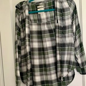 American Eagle Boyfriend Fit Green Grey Flannel
